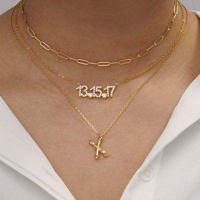 Collier Bambou Initial X