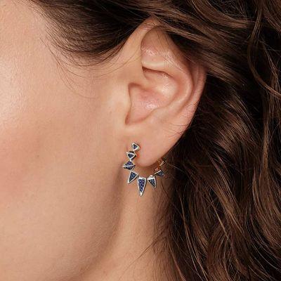 Boucles d'Oreilles Cerceau Triangle Bleu