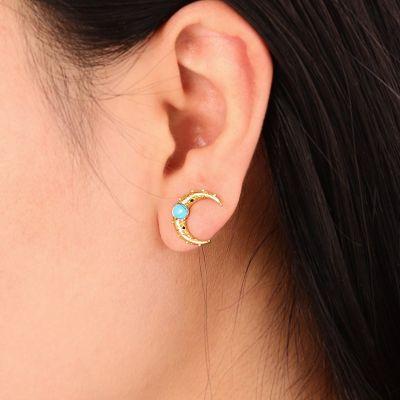 Clous d'Oreilles Lune Turquoise