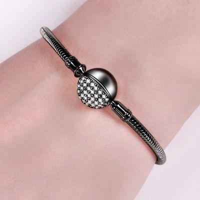 Bracelet Noir Fermoir Rond