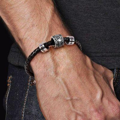 Bracelet Charm Personnalisé Crâne & Rose