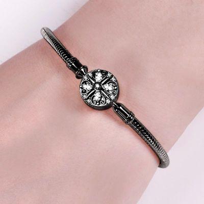 Bracelet Noir Fermoir Trèfle