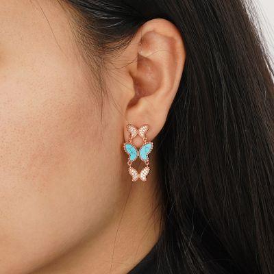 Clous d'Oreilles Turquoise Papillon