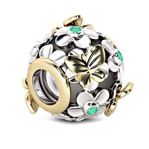 GNOCE Papillon Cr/âne Breloques Perle En Argent Sterling Noir Plaqu/é Cr/âne Charmes Perle Fit Bracelet//Collier Pour Femmes Filles Hommes